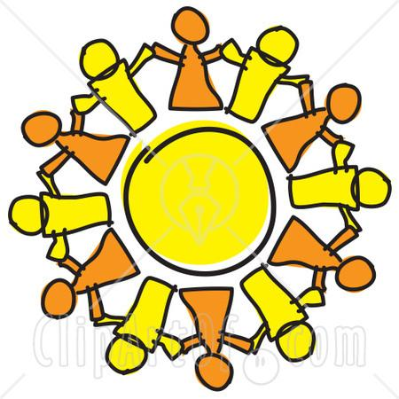 holding hands clip art. circle of figures holding hands. Clipart image showing people holding hands
