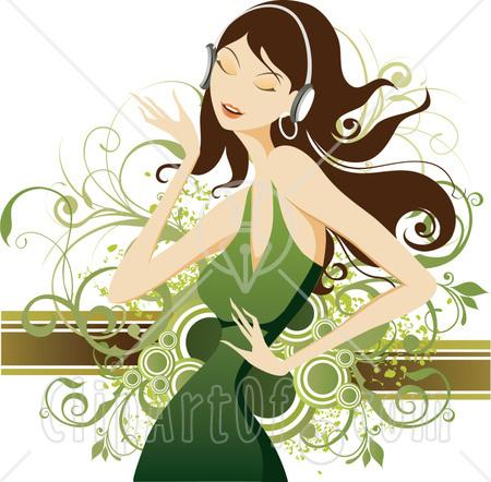 91-Clipart-Illustration-Of-A-Pretty-Brunette-Caucasian-Woman-In-A-Green-