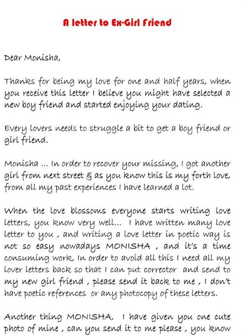 Love Letter To An ExGirlfriend  Mind Blowing     Sulekha